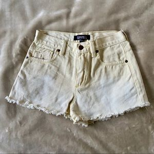 Yellow ombré denim shorts